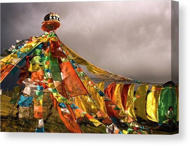 Chinese Culture Canvas Print featuring the photograph Stupa, Buddhist Altar In Tibet, Flags by Stefano Tronci