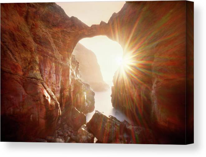Tranquility Canvas Print featuring the photograph Sunflare Through Arch Of Keyhole by Zeb Andrews