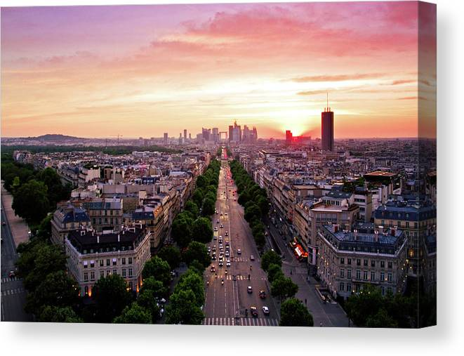 Moving Up Canvas Print featuring the photograph Sunset In Paris by Pink Pixel Photography