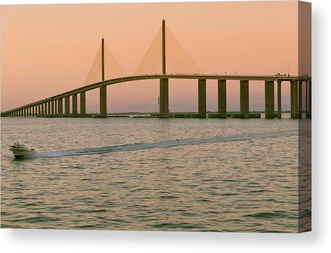 Wake Canvas Print featuring the photograph Sunshine Skyway Bridge by Ixefra