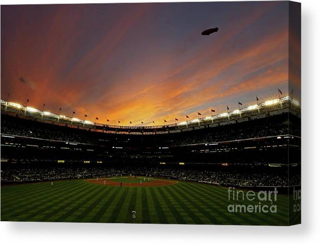 Playoffs Canvas Print featuring the photograph Texas Rangers V New York Yankees, Game 5 by Nick Laham