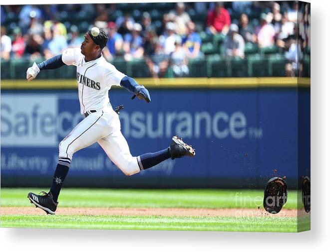 People Canvas Print featuring the photograph Texas Rangers V Seattle Mariners by Abbie Parr