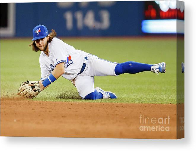 People Canvas Print featuring the photograph Texas Rangers V Toronto Blue Jays by Mark Blinch