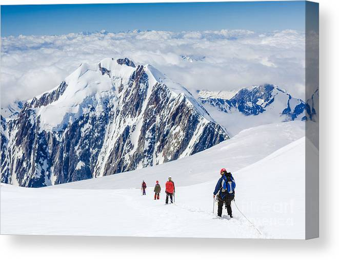 Altitude Canvas Print featuring the photograph Tied Climbers Climbing Mountain With by Olga Danylenko