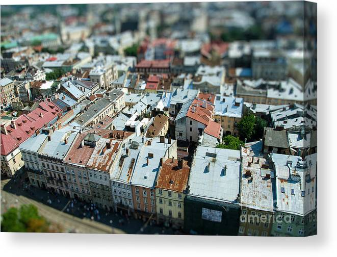 City Canvas Print featuring the photograph Tilt Shift Lviv Town Roof In Ukraine by Andy pol