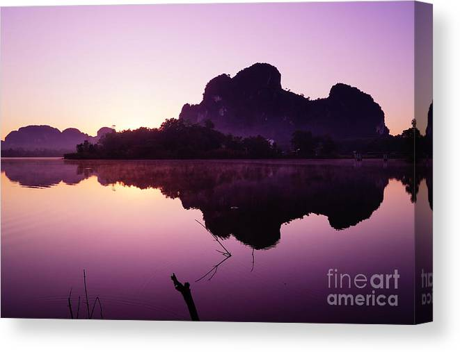Sky Canvas Print featuring the photograph Title The Peaceful Mountain by Pk Kaew