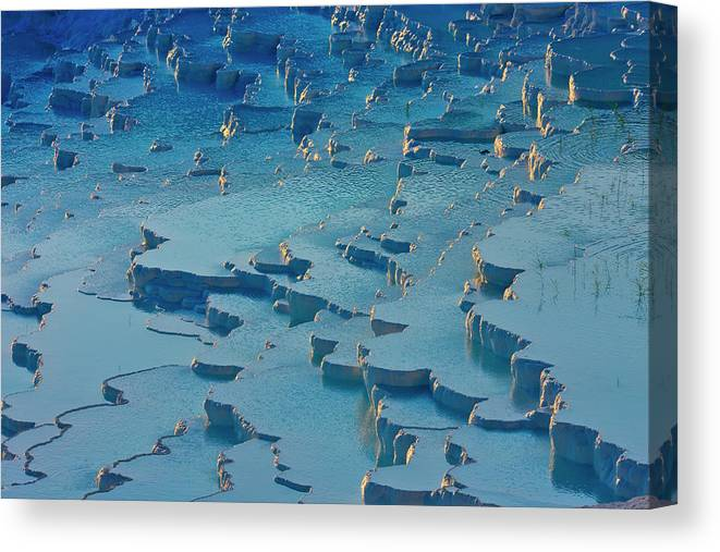 Agua Canvas Print featuring the photograph Tourist On Travertine Terraces by Keren Su