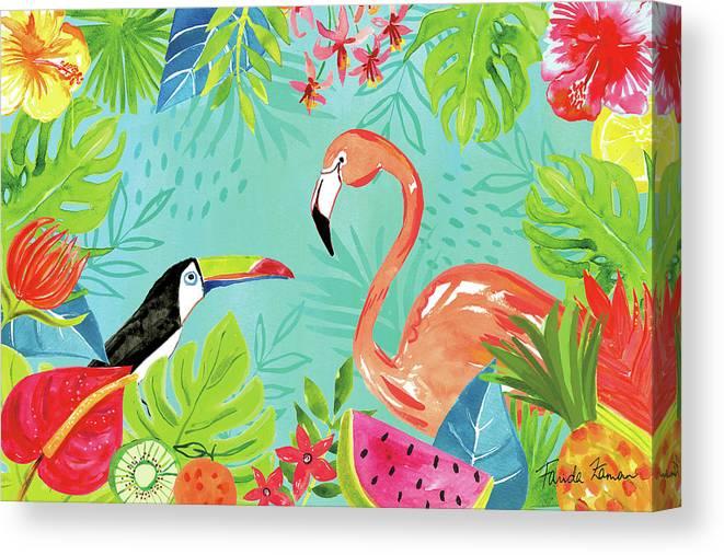 Animals Canvas Print featuring the painting Tutti Frutti IIi by Farida Zaman