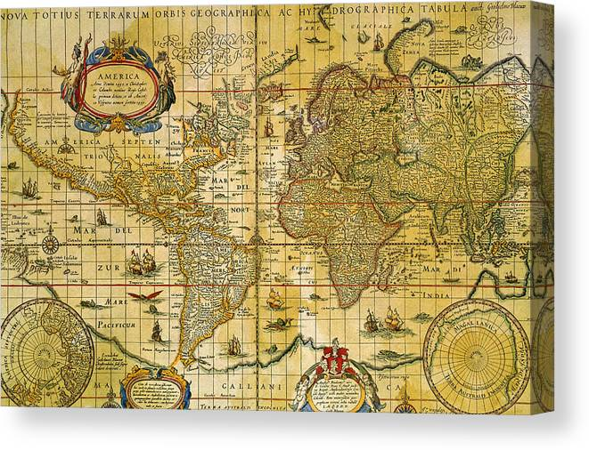 Vintage World Map Canvas Print / Canvas Art by Comstock