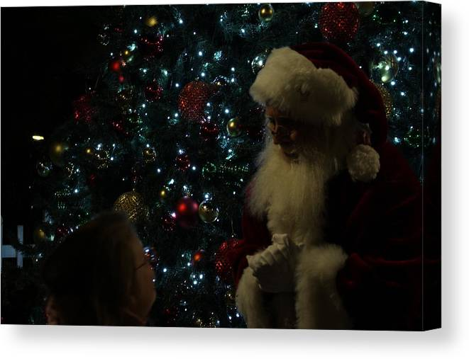 Santa Canvas Print featuring the photograph Visit With Santa by Colleen Cornelius