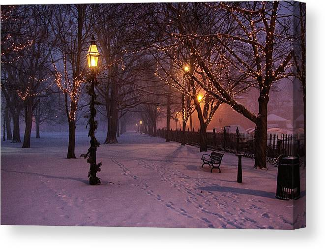 Salem Common Canvas Print featuring the digital art Walking The Path On Salem Ma Common by Jeff Folger