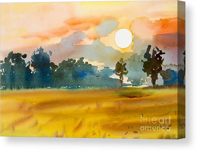 Shadow Canvas Print featuring the digital art Watercolor Painting Original Landscape by Painterstock
