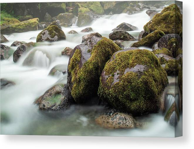 Tranquility Canvas Print featuring the photograph Waterfall, Bc, Canada by Paul Souders