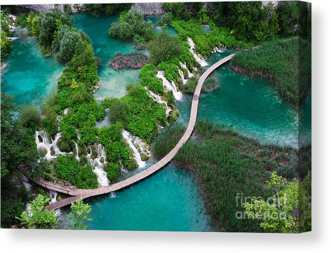 Color Canvas Print featuring the photograph Waterfalls In Plitvice National Park by Evgeniya Moroz