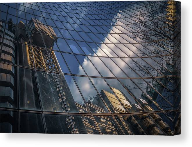 Architecture Canvas Print featuring the photograph Willis Building Reflections No 3 by Chris Fletcher