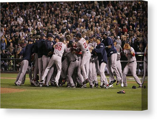 Celebration Canvas Print featuring the photograph World Series Boston Red Sox V Colorado by Rich Pilling