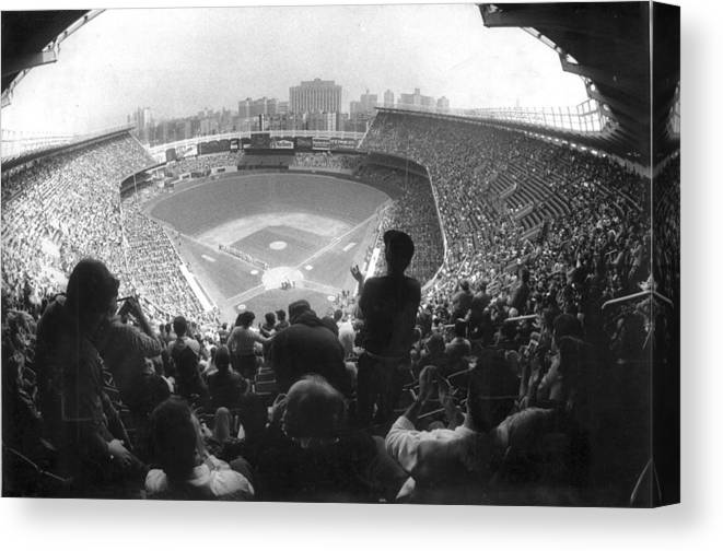 1980-1989 Canvas Print featuring the photograph Yankee Stadium Is Packed For The New Y by New York Daily News Archive