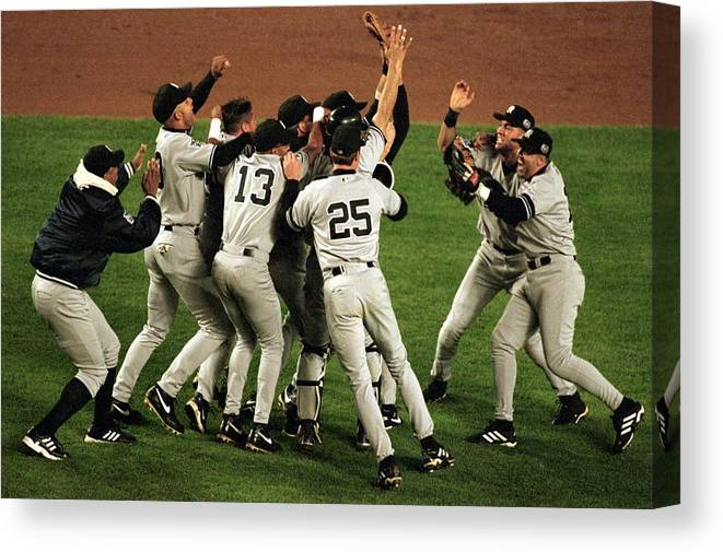 Celebration Canvas Print featuring the photograph Yankees Celebrate by Al Bello