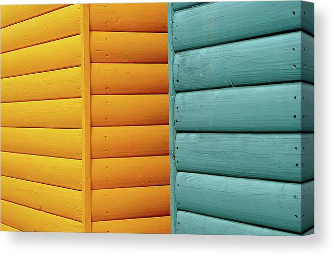 Beach Hut Canvas Print featuring the photograph Yellow & Blue Beach Huts Abstract by Kevin Button