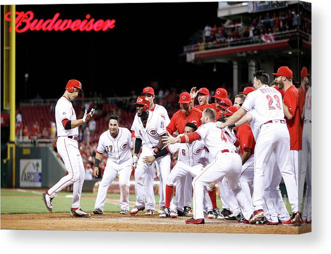 Great American Ball Park Canvas Print featuring the photograph Joey Votto by Joe Robbins
