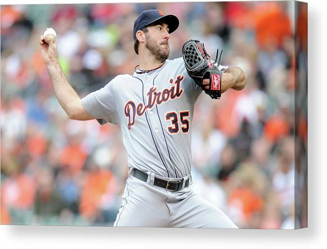 American League Baseball Canvas Print featuring the photograph Justin Verlander by Greg Fiume