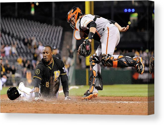 Ninth Inning Canvas Print featuring the photograph Starling Marte And Buster Posey by Joe Sargent