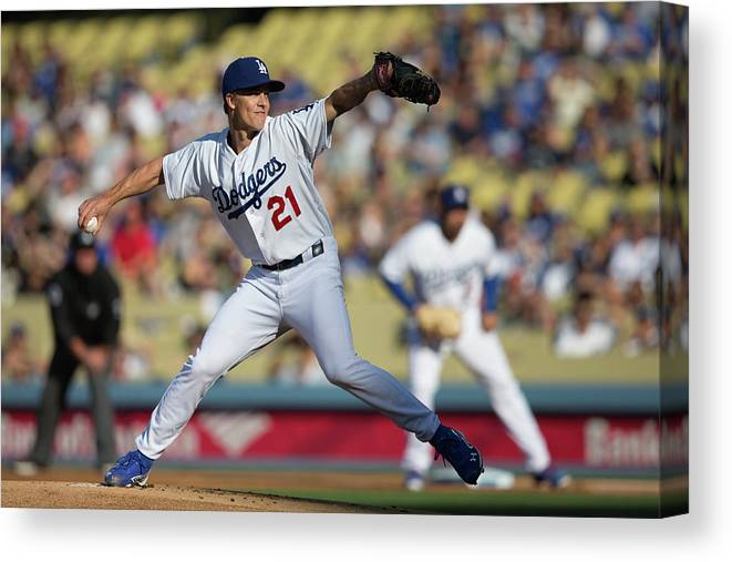 California Canvas Print featuring the photograph Zack Greinke by Paul Spinelli