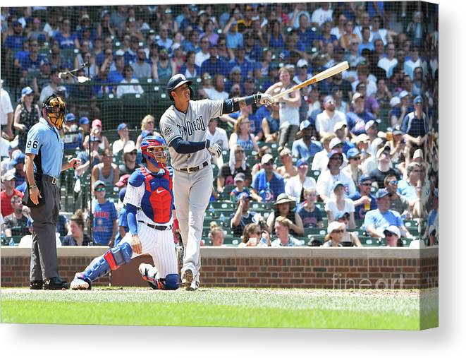 People Canvas Print featuring the photograph Manny Machado by David Banks