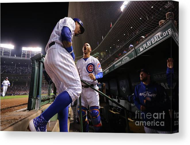 Playoffs Canvas Print featuring the photograph Willson Contreras And Javier Baez by Alex Trautwig
