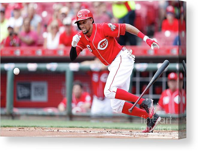 Great American Ball Park Canvas Print featuring the photograph Billy Hamilton by Joe Robbins