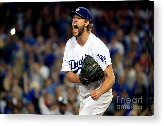 Game Two Canvas Print featuring the photograph Clayton Kershaw by Sean M. Haffey