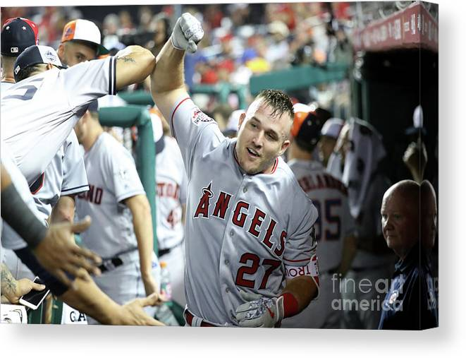 People Canvas Print featuring the photograph Mike Trout by Rob Carr
