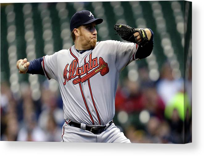 Aaron Harang Canvas Print featuring the photograph Aaron Harang by Mike Mcginnis