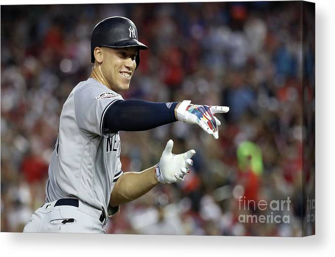 Second Inning Canvas Print featuring the photograph Aaron Judge by Rob Carr
