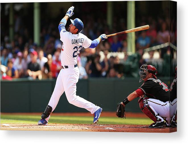 Los Angeles Dodgers Canvas Print featuring the photograph Adrian Gonzalez by Brendon Thorne