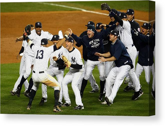 American League Baseball Canvas Print featuring the photograph Alex Rodriguez, Mark Teixeira, And Mariano Rivera by Chris Mcgrath