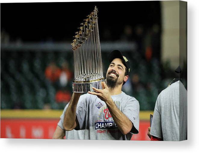 American League Baseball Canvas Print featuring the photograph Anthony Rendon by Mike Ehrmann