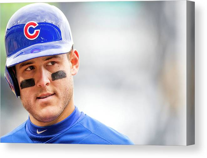 American League Baseball Canvas Print featuring the photograph Anthony Rizzo And Gregory Polanco by Taylor Baucom