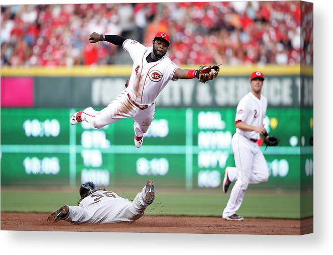 Great American Ball Park Canvas Print featuring the photograph Brandon Crawford And Brandon Phillips by Joe Robbins