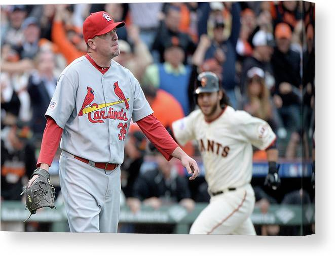 St. Louis Cardinals Canvas Print featuring the photograph Brandon Crawford And Randy Choate by Harry How