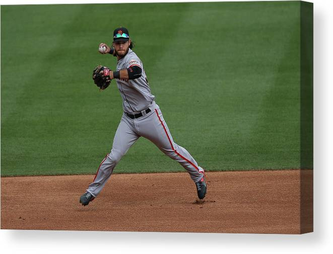 Ball Canvas Print featuring the photograph Brandon League by Doug Pensinger