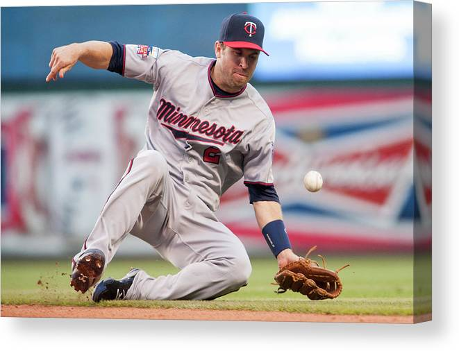American League Baseball Canvas Print featuring the photograph Brian Dozier And David Murphy by Jason Miller