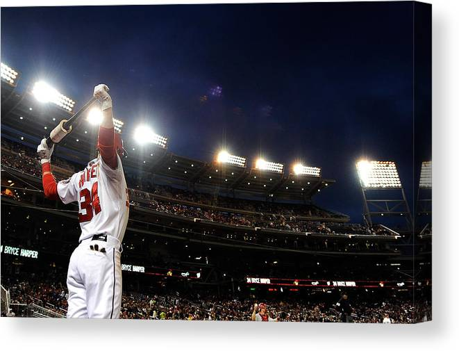 National League Baseball Canvas Print featuring the photograph Bryce Harper by Patrick Mcdermott