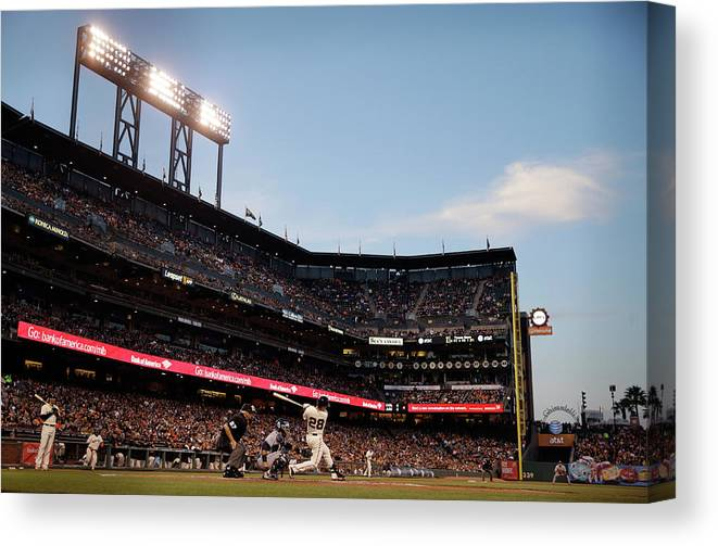 San Francisco Canvas Print featuring the photograph Buster Posey by Ezra Shaw