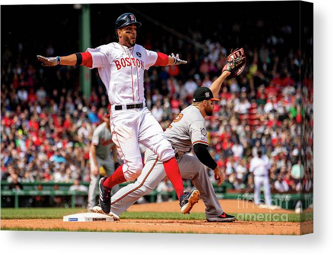 People Canvas Print featuring the photograph Chris Davis And Xander Bogaerts by Billie Weiss/boston Red Sox