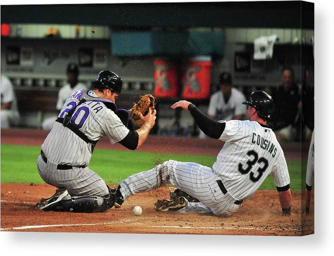 Ball Canvas Print featuring the photograph Chris Iannetta by Ronald C. Modra/sports Imagery
