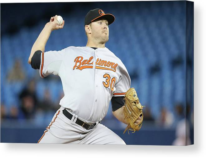 Second Inning Canvas Print featuring the photograph Chris Tillman by Tom Szczerbowski