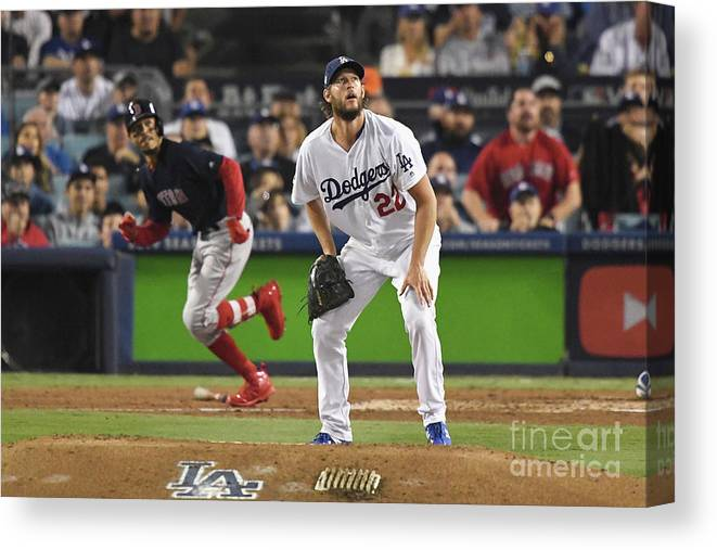 People Canvas Print featuring the photograph Clayton Kershaw And Mookie Betts by Kevork Djansezian
