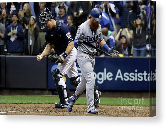 People Canvas Print featuring the photograph Corey Knebel, Justin Turner, And Erik Kratz by Rob Carr