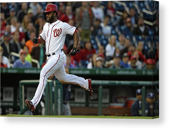 American League Baseball Canvas Print featuring the photograph Denard Span And Anthony Rendon by Patrick Smith